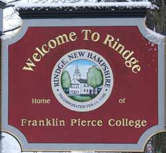Franklin Pierce University - Rindge's town sign with the college name