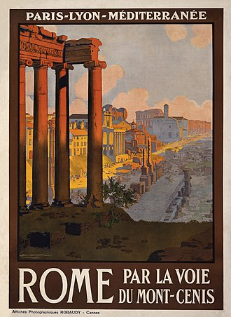 Temple of Saturn - The Temple of Saturn from a 1920 travel poster