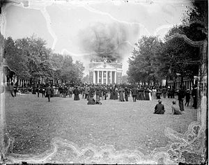 Albert and Shirley Small Special Collections Library - Rufus Holsinger's image of the Rotunda burning in 1895, destroying most of the library collections