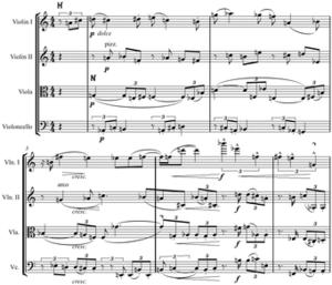 Hauptstimme - Image: Schoenberg Fourth String Quartet Hauptstimme & nebenstimme mm.27 31