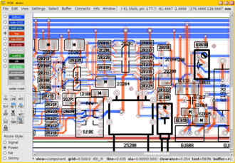 GEDA - Screenshot showing the layout editor PCB in action.