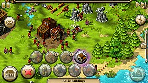 The Settlers IV - Screenshot of The Settlers HD on Symbian, showing how the game's controls and HUD have been ported to a touchscreen device; the mail icon on the top left is for notifications, the building icon on the bottom left brings up the building menu (which is further subdivided into different menus for different types of building), the greyed out image on the bottom right is to select any speciality settlers, and the star icon on the top right is to display the minimap.