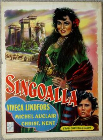 Singoalla (film) - French poster with Michel Auclair listed in the starring role as Erland Månesköld