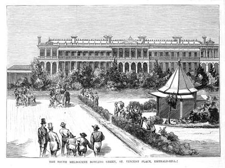 St Vincent Gardens in 1878. Rochester Terrace is in the background St vincent place emerald hill 1878.jpg