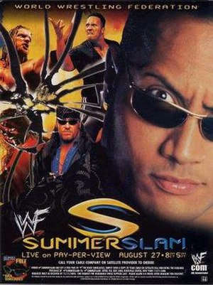 SummerSlam (2000) - Promotional poster featuring The Rock, Triple H, The Undertaker and Kane