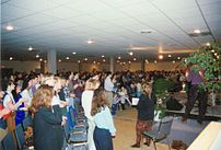 The Meeting Place Church service held in basem...