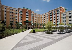University of Central Florida student housing - Tower One at Knights Plaza as viewed from its promenade