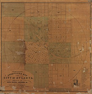 Edward A. Vincent - Vincent's Subdivision Map of the City of Atlanta, 1853.