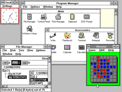 Windows 3.0, released in 1990 Windows 3.0 workspace.png