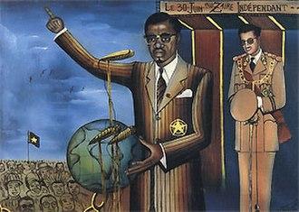 Congolese Independence Speech - TKM Lumumba Indépendance (1972) by Tshibumba Kanda-Matulu. The painting shows a romanticised portrayal of the speech