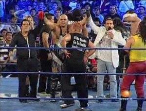 La Sociedad - Dorian Roldán, Konnan and El Hijo del Perro Aguayo forming an alliance on June 20, 2010