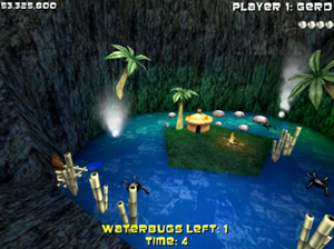 Adventure Pinball: Forgotten Island - Attempting to complete a goal in story mode involving Waterbugs, one of its unique features and differences from previous pinball games.