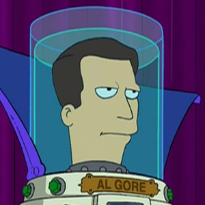 "Environmental activism of Al Gore - Gore's head in a jar as depicted in the Futurama episode ""Crimes of the Hot""."
