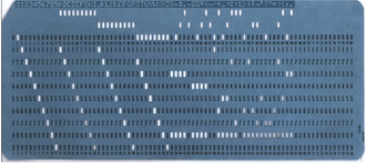 EBCDIC - Punched card with the 1964 EBCDIC character set. Contrast at top enhanced to show the printed characters.