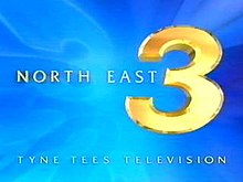 "The captions ""North East"" and ""Tyne Tees Television"" surround a large yellow number three, on a light blue background"