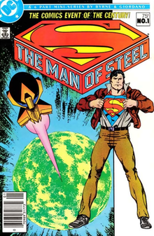 "Comic cover of ""Superman: The Man of Steel"". On the left is a spaceship launched from a planet, and on the right Superman revealing his costume from underneath regular clothes."