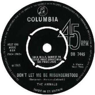 Don't Let Me Be Misunderstood - Image: Don't Let Me Be Misunderstood cover
