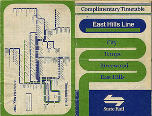 "Airport & South Line - State Rail East Hills Line timetable from 1987, prior to the Glenfield extension. Prior to the opening of the Airport railway line, the line was marketed as the ""East Hills Line""."