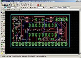 EAGLE (program) - Image: Eagle PCB Screenshot