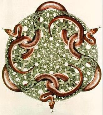 M. C. Escher - Escher's last work, Snakes, 1969