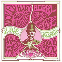 In a design suggesting a 1960s-era concert poster, a skeleton wearing a formal suit and a top hat smokes a large cigarette