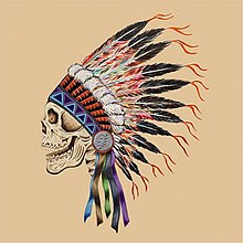 A skull wearing a Native American headdress