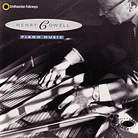 Cowell playing string piano on the cover of his lone recording