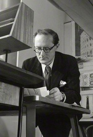 Hugh Casson - Casson in his office, early 1950s; vintage bromide print by John Gay, from the photograph collection of the National Portrait Gallery