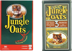 Tiger Brands - 2010 box of Jungle oats (left) oatmeal as well as an example of the first box from the 1920s (right) reflecting how the use of the Tiger Oaks logo on its packaging has changed in the 90 years since its founding.