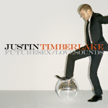 A picture of a young man who wears a suit while crushing a disco ball. The background is gray and in the middle are the words 'Justin' (written in black) and 'Timberlake' (written in orange), while under them is 'FutureSex/LoveSounds' in niances of gray.