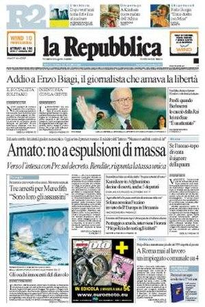 La Repubblica - Image: La repubblica frontpage 2007 11 07