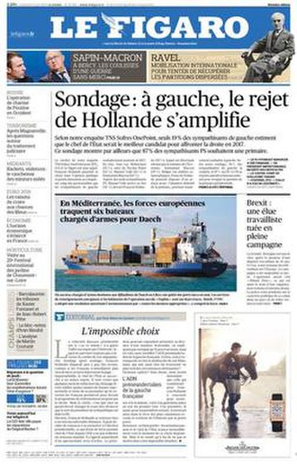 Le Figaro - Front page of 22 November 2015