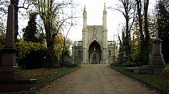 Nunhead Cemetery - View up The Avenue from the North Gate toward the Anglican Chapel