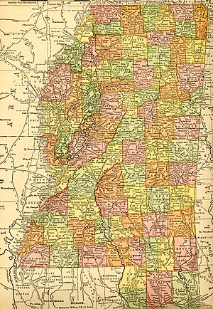 Forrest County, Mississippi - An early map of Mississippi (c. 1907, showing Forrest County