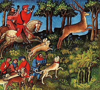 Medieval hunting - Picture from Livre de la Chasse showing relays of running hounds set on the path of the hart