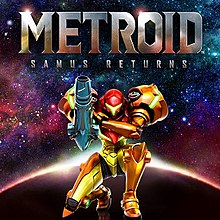 The cover art shows Samus Aran, a woman in am orange, full-body armour, kneeling with her arm cannon raised in front of a starry sky.