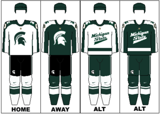 Michigan State Spartans men's ice hockey - Image: Michigan State Men's Ice Hockey Uniforms