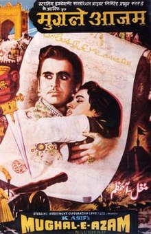 Theatrical poster showing Prince Salim hugging Anarkali