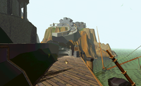 A pre-rendered still from Myst