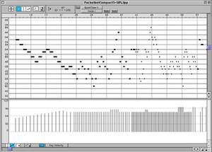 Overture (software) - Graphic MIDI Data Window in Overture 3.6 (Mac OS 9). The violin 1 part of Pachelbel's Canon appears in this MIDI editor view. The notes appear on a scrolling piano roll, and their durations and MIDI note velocities are editable using the mouse.