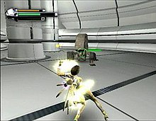 A horizontally rectangular video game screenshot that is a digital representation of a space station. A woman in a glowing yellow outfit faces a grey robot at the center of the screen.