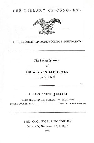 Paganini Quartet - A program from the first concert of the Paganini Quartet at the Library of Congress in 1946. The first three string quartets of Beethoven were performed.