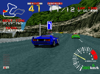 Ridge Racer (video game) - A race in progress, PlayStation version
