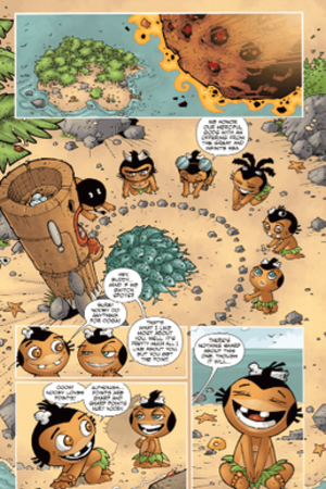 Pocket God (comics) - Page 1 of Pocket God, showing Ooga moving out of the way of a meteor, with Nooby willingly switching spots.