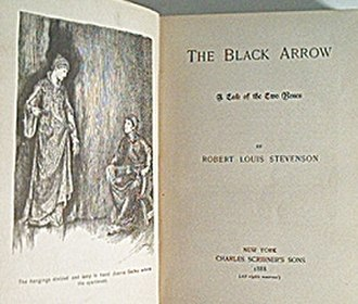 The Black Arrow: A Tale of the Two Roses - Title page of the first edition of 1888, US edition a few weeks before the UK edition