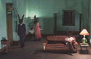 Rabbits (film) - Screenshot illustrating the three rabbits in the single set.