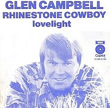 "Cover image from Glen Campbell's hit single recording ""Rhinestone Cowboy"""