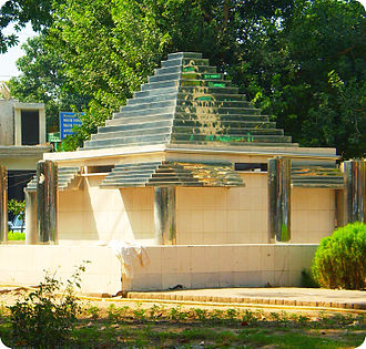 Samanabad - A triangular monument built on the second roundabout of Samnabad.