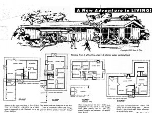Rancho Rinconada, Cupertino, California - Original flyer for the neighborhood showing typical floorplans
