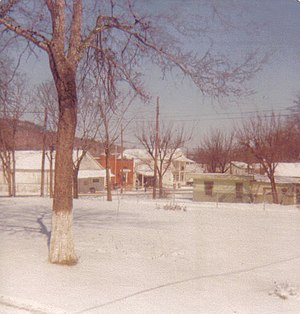 Stringtown, Oklahoma - A view of the town in 1978 looking towards the old post office